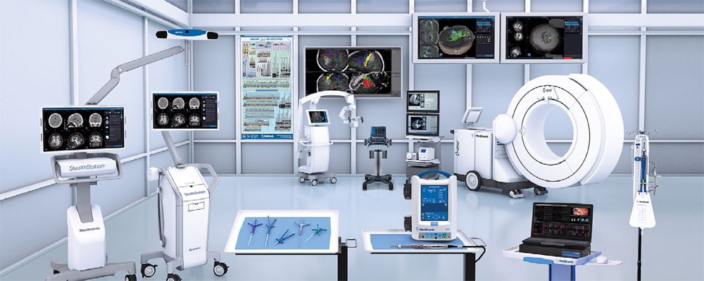 The O-Arm system is an intraoperative 2D/3D imaging system that can be used in many procedures including spine and brain surgery.